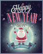 New Year Poster with Santa. Vector illustration.