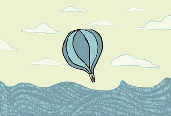 Hot air balloon over the sea. illustration