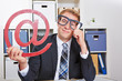 Business man with internet sign and nerd glasses