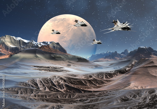 Alien Planet with Mountains and Spaceships © diversepixel