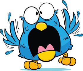 Cartoon Frantic Blue Bird