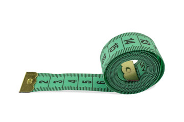 Coiled green tape measure
