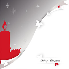 Christmas Card Leaves red