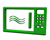 Green microwave oven icon, 3d