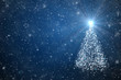 New Year tree with falling snowflakes and stars