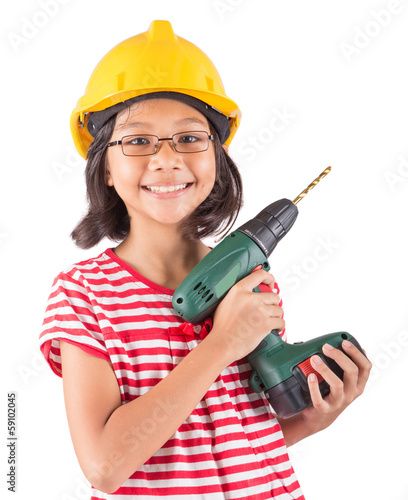 Little asian malay girl with power drill over white background
