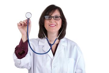 Sympathetic Healthcare Intern with Stethoscope