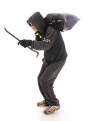 Suspicious burgler with crowbar