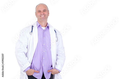 Middle Aged Practitioner Doctor looking at you Relaxed