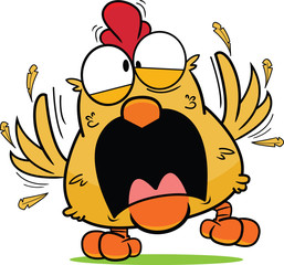 Cartoon Frantic Brown Chicken