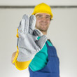 Construction worker showing ok sign