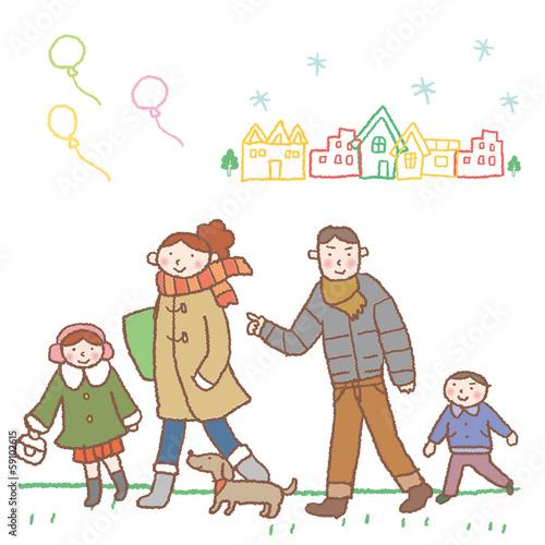お出かけする家族