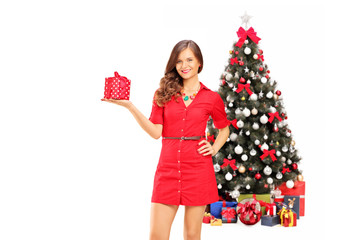 Smiling female holding a gift in front of a christmas tree