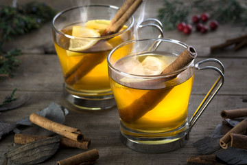 Two Hot Toddy Cocktail Drinks with Cinnamon and Lemon