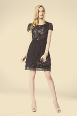 Full length a photo of beautiful girl is in fashion style ,