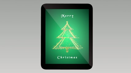 Gold Christmas tree on green background. Tablet. Loop