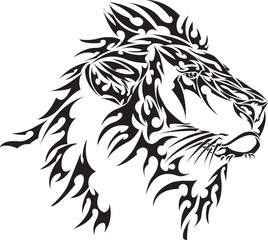 Vector image of tribal lion head on a white background
