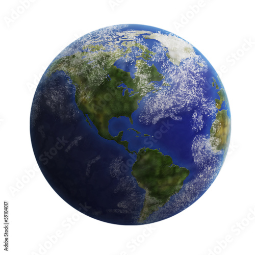 Earth from space isolated on white background.