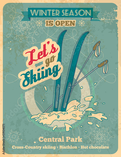 Let's go skiing retro poster