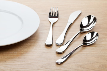 Empty white plate with silverware