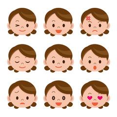 中年女性の表情セット