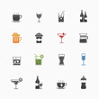 Beverage vector symbol icon set