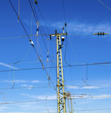 catenary with blue sky