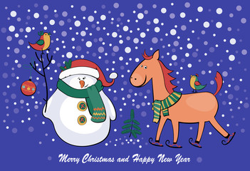 vector illustration snowman and horse