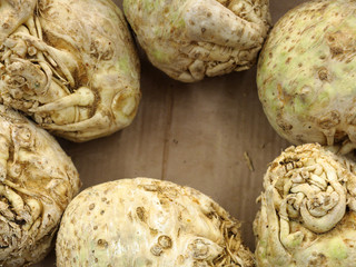 celery root in market as background