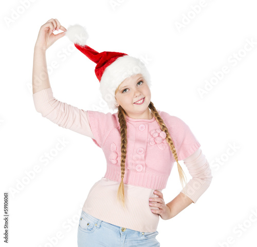 Girl in red christmas hat  on white background