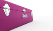 Pink suite case concept rendered isolated