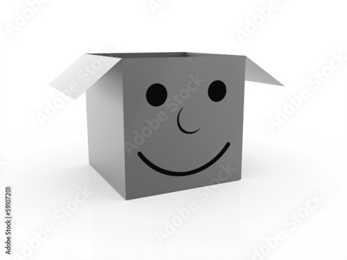 Black and white smile box isolated