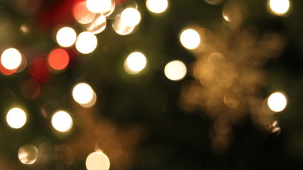 Christmas Tree Lights with Snowflake Ornaments Bokeh
