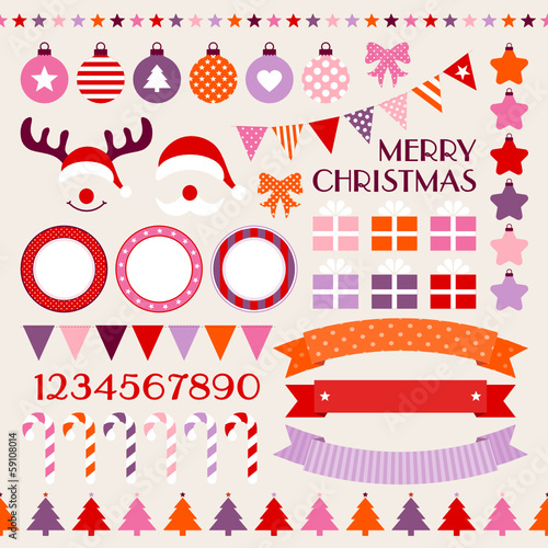 Retro Christmas Set Red/Pink/Purple