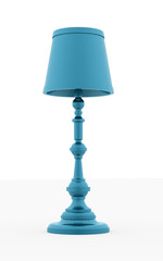 Classic blue vintage lamp rendered on white