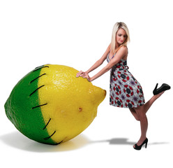 Woman Leaning on a lemon lime