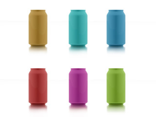 Six colored cans isolated on white