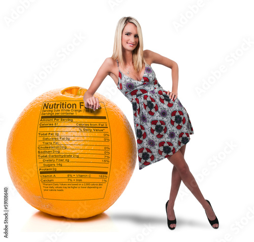 Woman Leaning on Orange with Nutrition Label