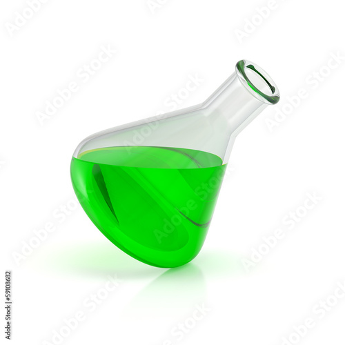 Test-tube with green liquid isolated. Laboratory glassware