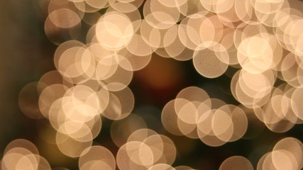 Christmas Tree Lights with Hanging Ornaments Bokeh Background