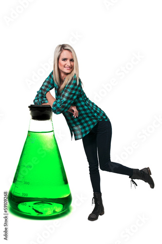 Woman and Laboratory Beaker