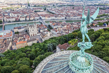 Lyon from the top of Notre Dame de Fourviere