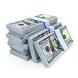 Stack of New 2013 Dollar Bills on white background