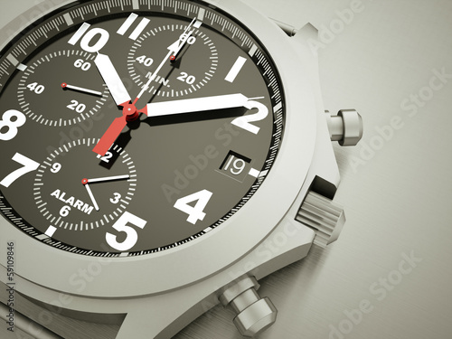 Sport watch rendered on dark