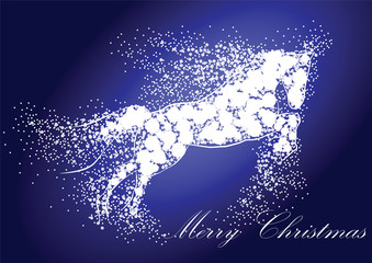 Christmas illustration with New Year symbol horse