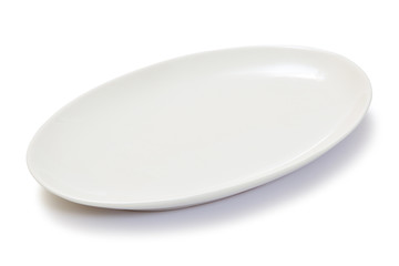 empty oval white plate