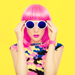 stylish portrait of a bright girl