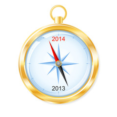 Golden compass points to New Year 2014. Vector illustration