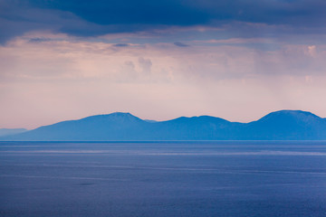 Island of Brac Sillouette in the Rainy Morning, Croatia
