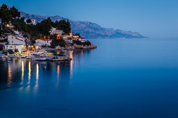 Peaceful Croatian Village and Adriatic Bay Illuminated by Moon,